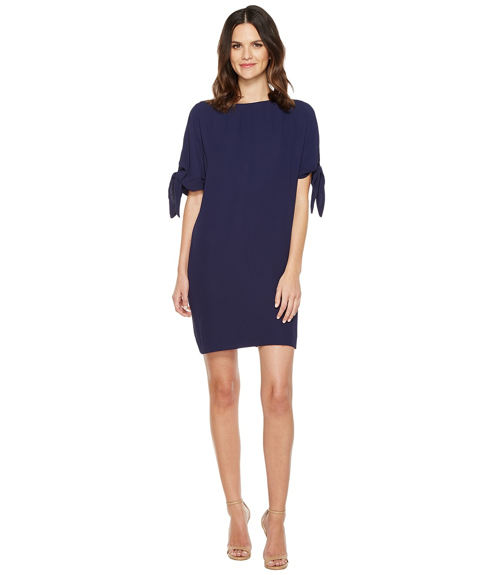 Vince Camuto Crepe Knotted Sleeve Shift Dress (Navy) Women