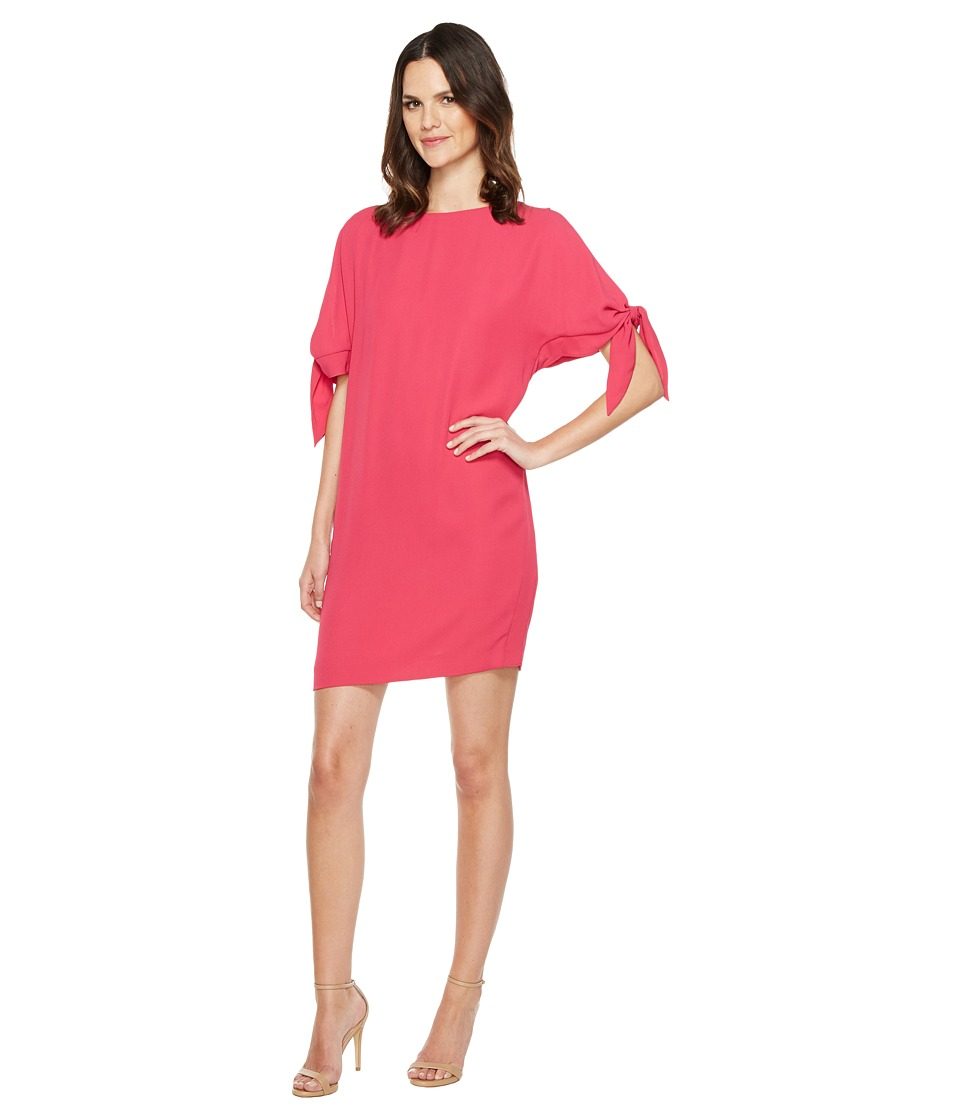 Vince Camuto Crepe Knotted Sleeve Shift Dress (Pink) Women