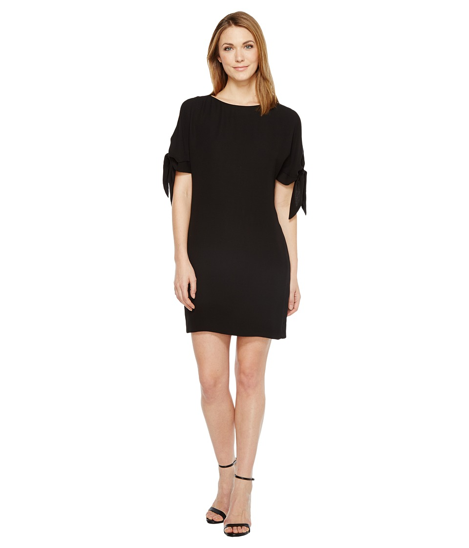 Vince Camuto Crepe Knotted Sleeve Shift Dress (Black) Women