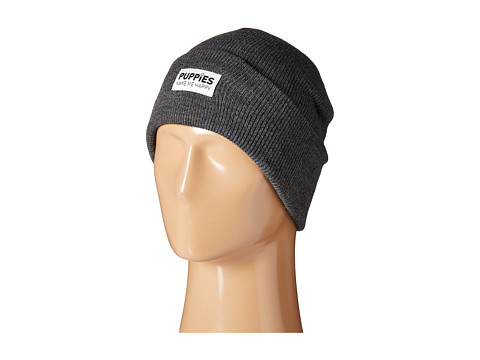 Puppies Make Me Happy Puppies Beanie - Charcoal
