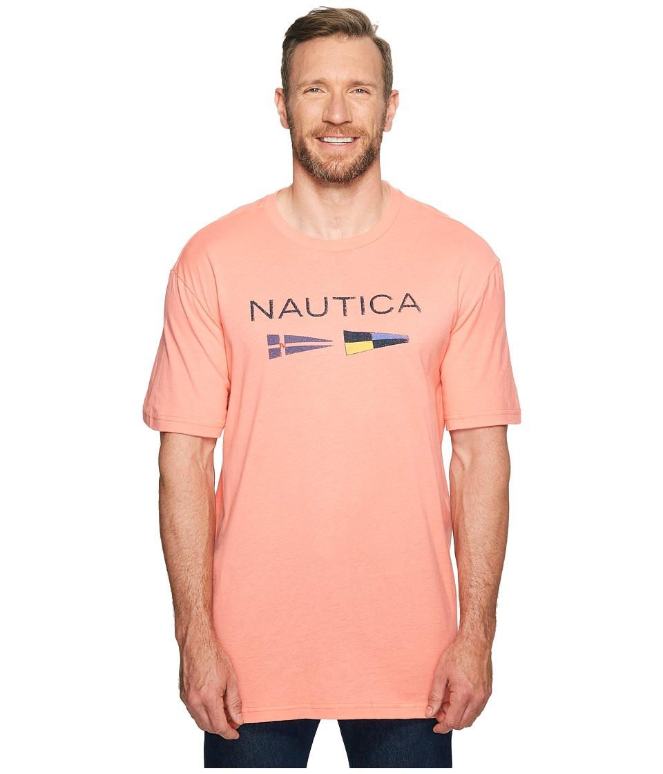 Nautica Big & Tall Big Tall Nautica Flags Tee (Pale Coral) Men
