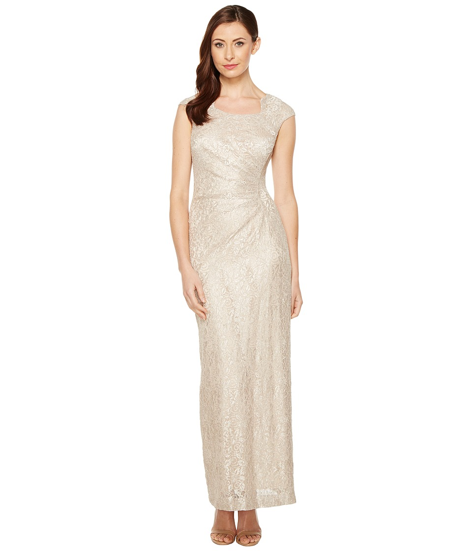 Tahari by ASL Horseshoe Neck Lace Gown (Champagne) Women