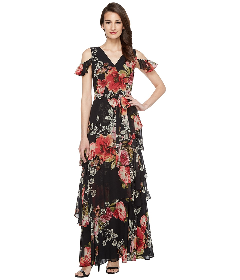 Tahari by ASL Floral Cold Shoulder Chiffon Gown (Black/Sage/Magenta) Women