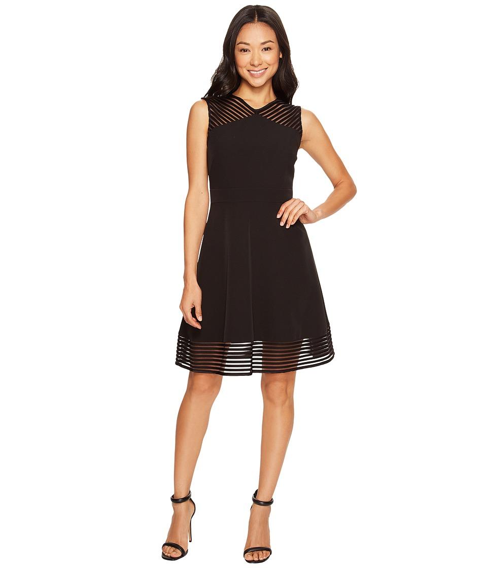Tahari by ASL Petite Petite Mesh Stripe Trim Dress (Black) Women