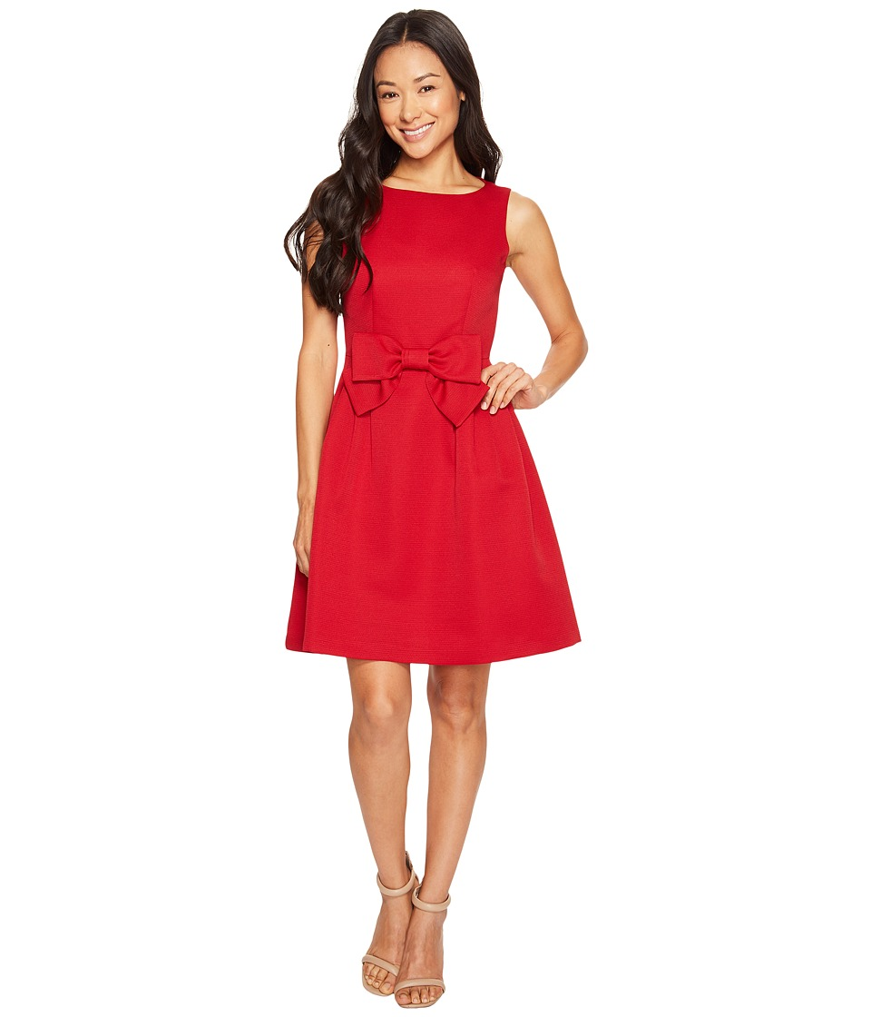 Tahari by ASL Petite Petite Bow Fit and Flare Dress (Cherry Red) Women