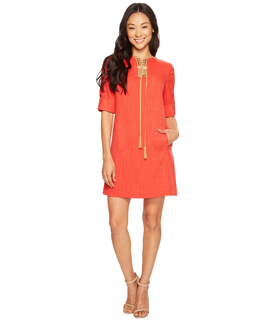 Tahari by ASL Petite Petite Lace-Up Shift Dress (Poppy Red) Women