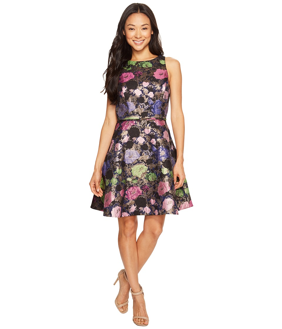 Tahari by ASL Petite - Petite Metallic Floral Fit and Flare Dress