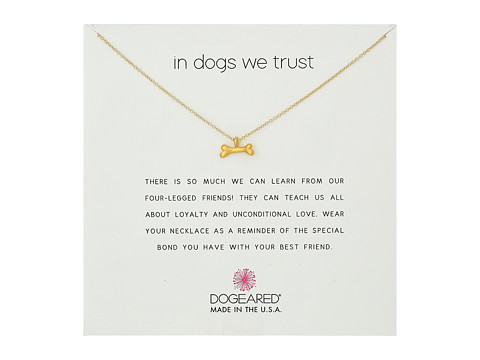 Dogeared In Dogs We Trust, Dog Bone Necklace - Gold Dipped