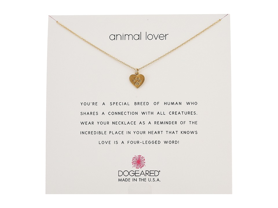 Dogeared Animal Lover, Heart with Paw Necklace (Gold Dipp...