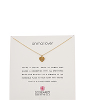 Animal Lover, Heart with Paw Necklace  Gold