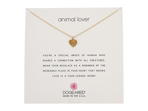 Dogeared Animal Lover, Heart with Paw Necklace - Gold Dipped