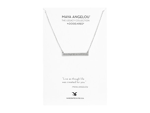 Dogeared Maya Angelou: Live As Though Life: ID Bar Necklace - Sterling Silver