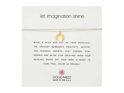 Dogeared Let Imagination Shine, Crescent Charm On Silk Thread, Necklace - Gold Dipped/Taupe