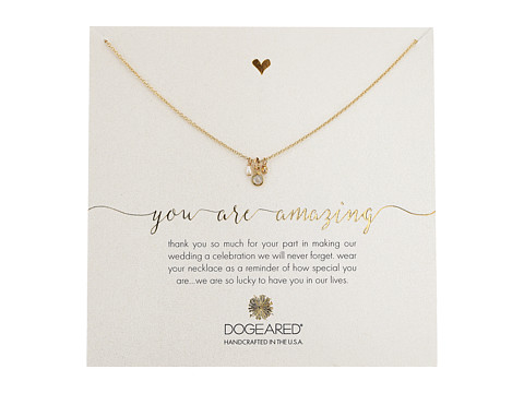 Dogeared You Are Amazing, Pearl, Crystal Bezel and Bead Cluster Necklace - Gold Dipped