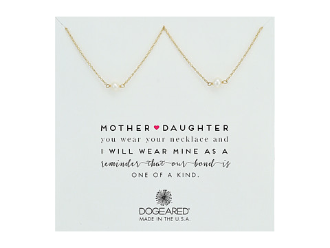 Dogeared Mother & Daughter, 2 Small Pearl Necklace - Gold Dipped