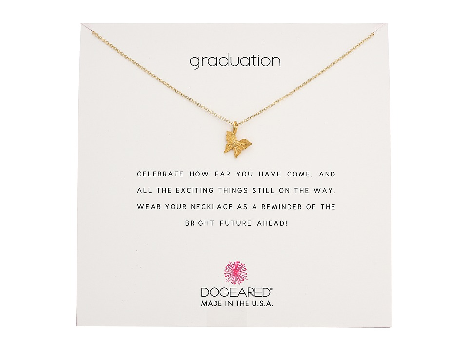 Dogeared Graduation, Graceful Butterfly Necklace (Gold Di...