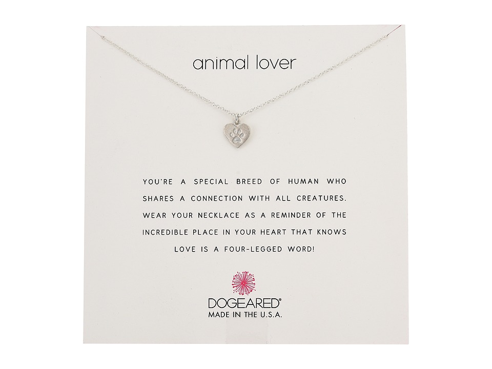 Dogeared Animal Lover, Heart with Paw Necklace (Sterling ...