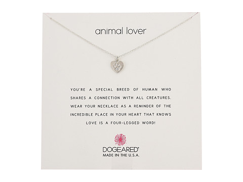 Dogeared Animal Lover, Heart with Paw Necklace - Sterling Silver