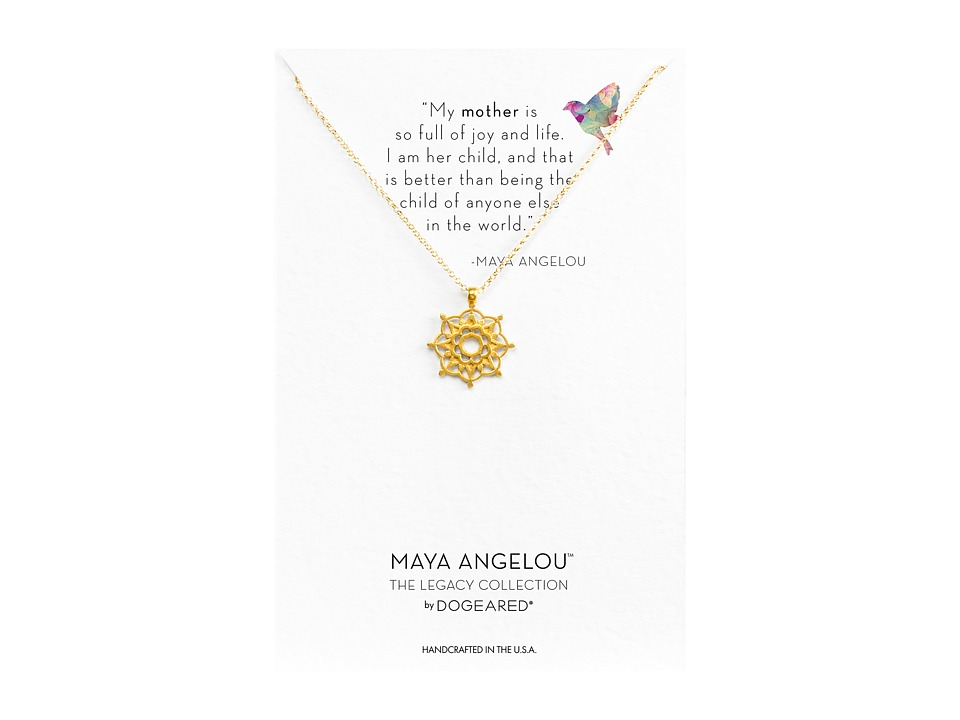 Dogeared Maya Angelou: Mom Me Necklace (Gold Dipped) Neck...