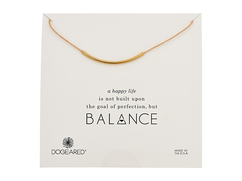 Dogeared Balance Adjustable Cord Necklace - Natural/Gold Dipped