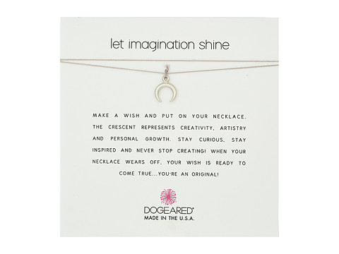 Dogeared Let Imagination Shine, Crescent Charm On Silk Thread, Necklace - Sterling Silver/Taupe
