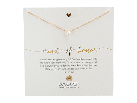 Dogeared Maid of Honor, Large White Pearl Necklace - Gold Dipped