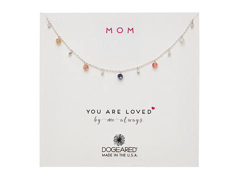 Dogeared Mom, You Are Loved, Dangling Gem Necklace - Sterling Silver