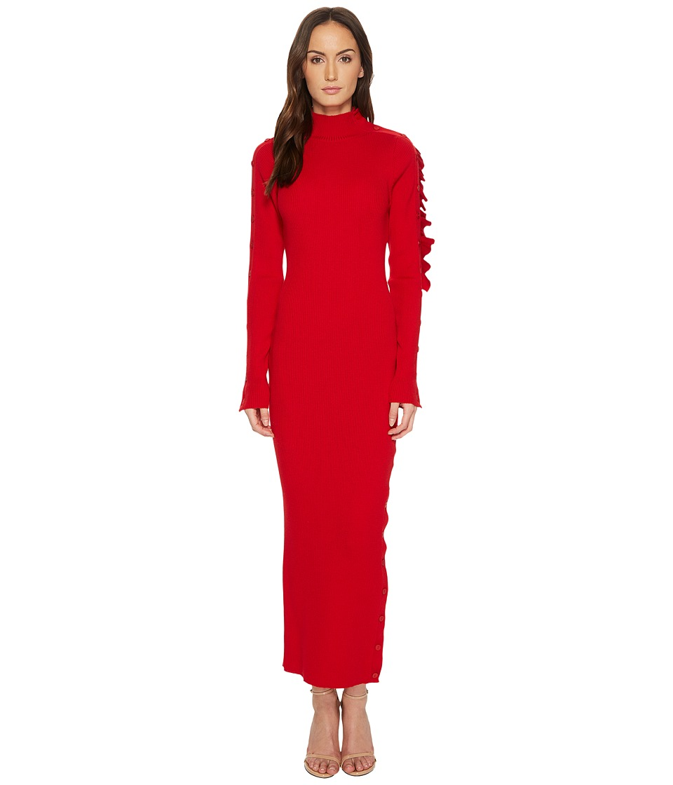 Preen by Thornton Bregazzi - Allegra Cold Ruffle Shoulder Knit Dress
