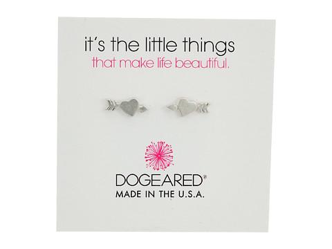 Dogeared It s The Little Thing: Heart with Arrow Earrings - Sterling Silver