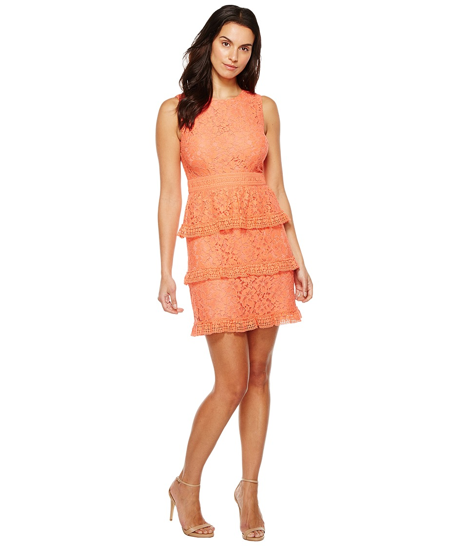 CeCe Brea Sleeveless Floral Lace (Coral Peony) Women
