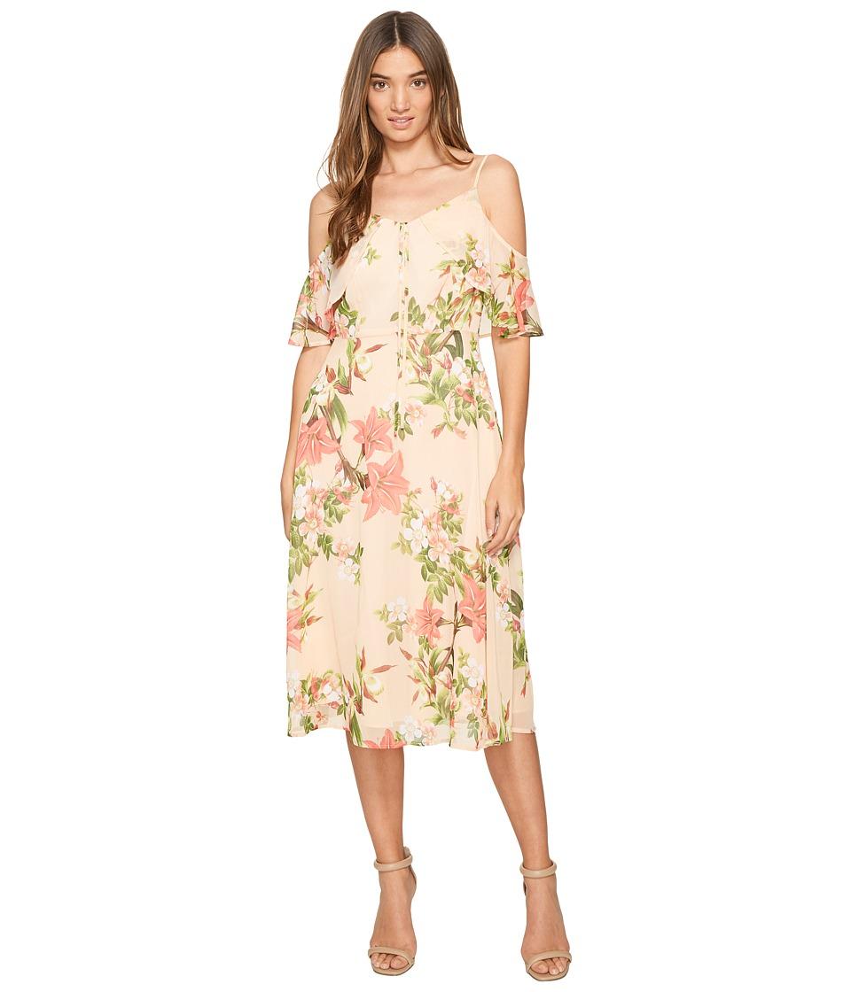 CeCe Alice Cold Shoulder Floral (Whisper Peach) Women