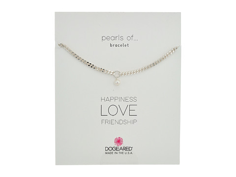 Dogeared Heavy Curbed Chain w/ Pearl Bracelet - Sterling Silver