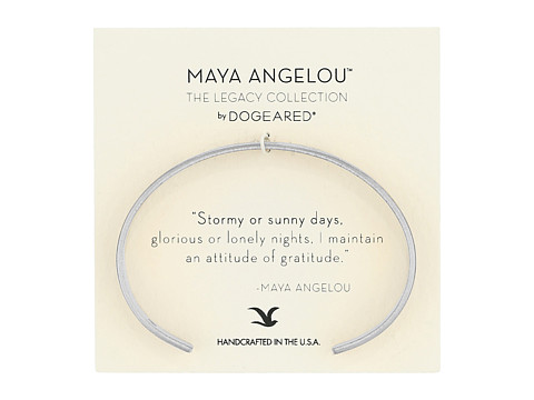 Dogeared Maya Angelou: Attitude of Gratitude: Thin Cuff Bracelet - Sterling Silver
