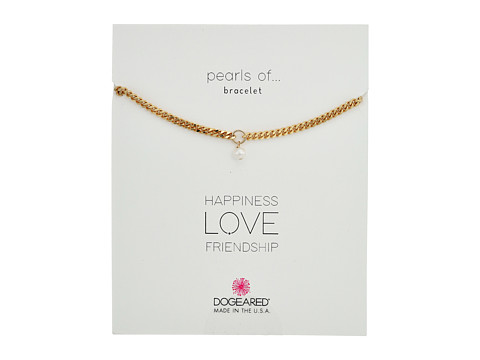 Dogeared Heavy Curbed Chain w/ Pearl Bracelet - Gold Dipped