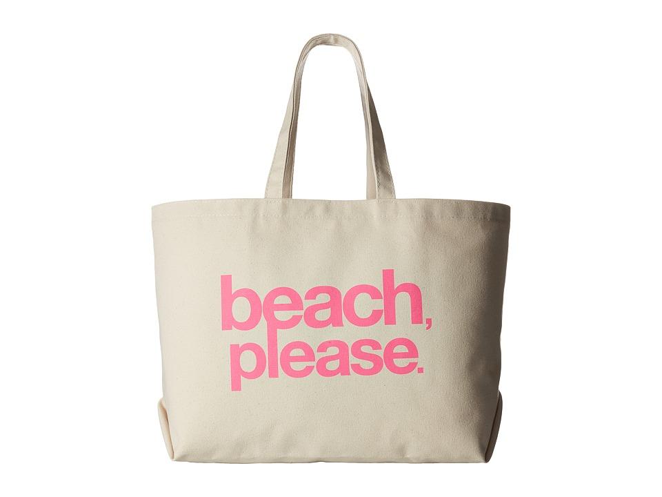 Dogeared Beach, Please Super Tote (Natural/Pink) Handbags