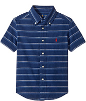 Polo Ralph Lauren Kids - Indigo Plain Weave Short Sleeve Button Down Top (Toddler)