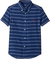 Polo Ralph Lauren Kids - Indigo Plain Weave Short Sleeve Button Down Top (Little Kids/Big Kids)