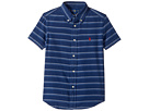 Indigo Plain Weave Short Sleeve Button Down Top (Little Kids/Big Kids)
