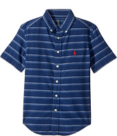 Polo Ralph Lauren Kids - Indigo Plain Weave Short Sleeve Button Down Top (Big Kids)