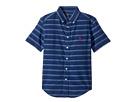 Indigo Plain Weave Short Sleeve Button Down Top (Big Kids)