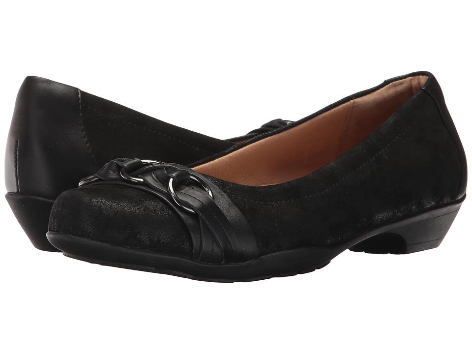 Comfortiva Posie Soft Spots (Black Distressed Foil Suede) Women