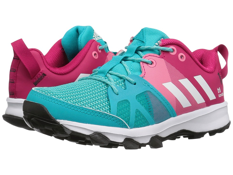 adidas Kids Kanadia 8 (Little Kid/Big Kid) (Blue/White/Pink) Girls Shoes