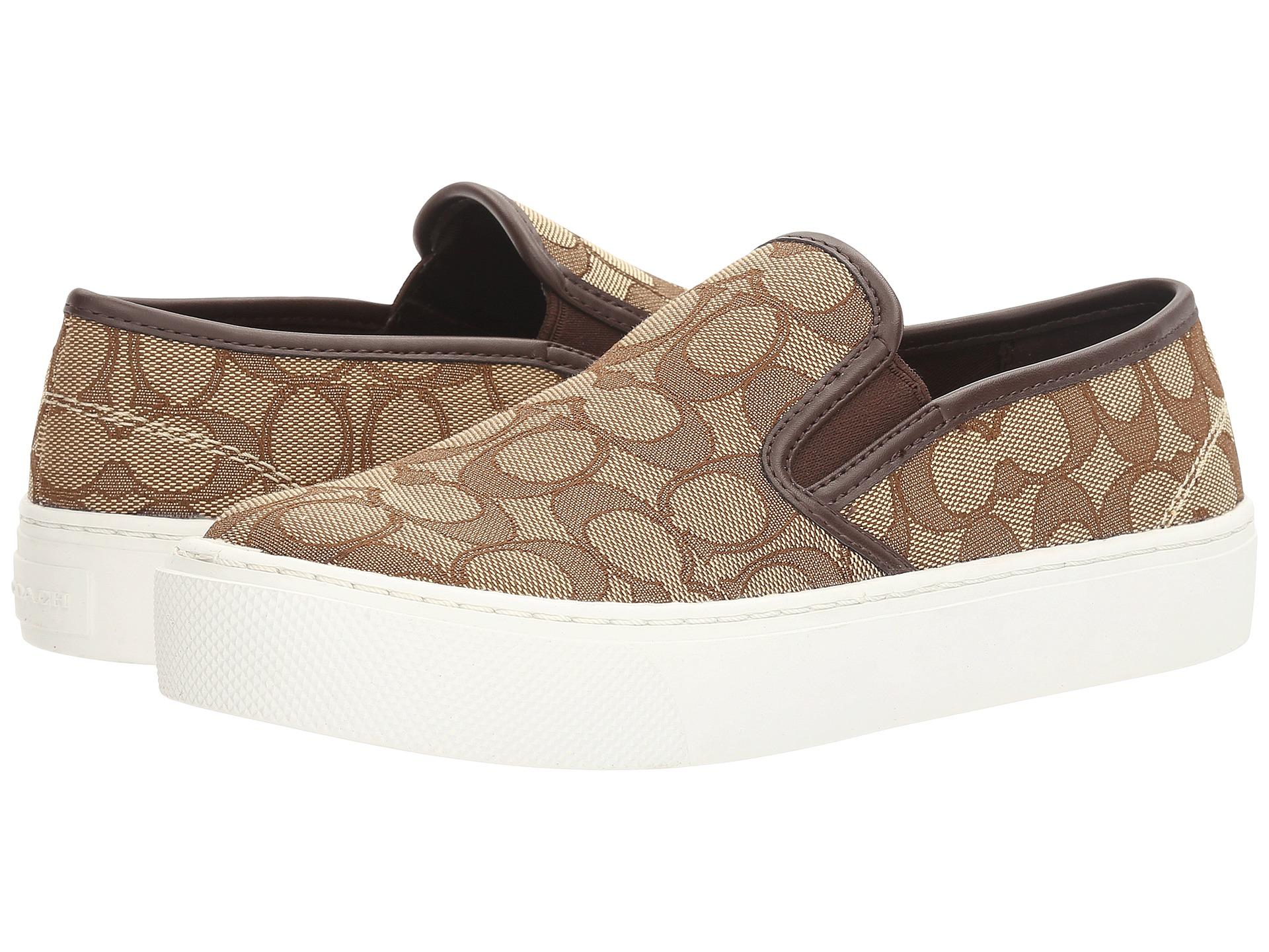 코치 우먼 카메론 슬립온 (카키/체스트넛 시그니처) COACH Cameron Sneakers Khaki Nappa Chestnut Sig C