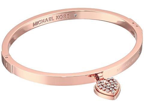 Michael Kors Micro Muse Microstud Heart Hinged Bracelet - Rose Gold