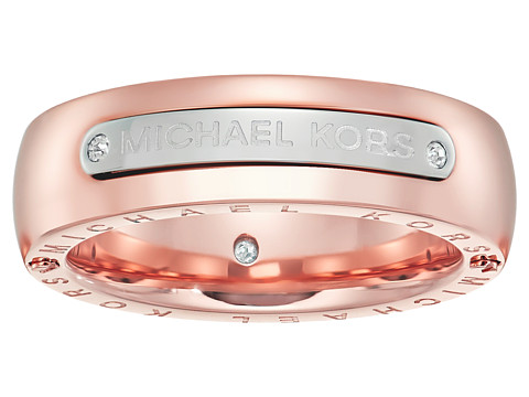 Michael Kors Tailored Two-Tone Logo Plaque Band Ring - Rose Gold