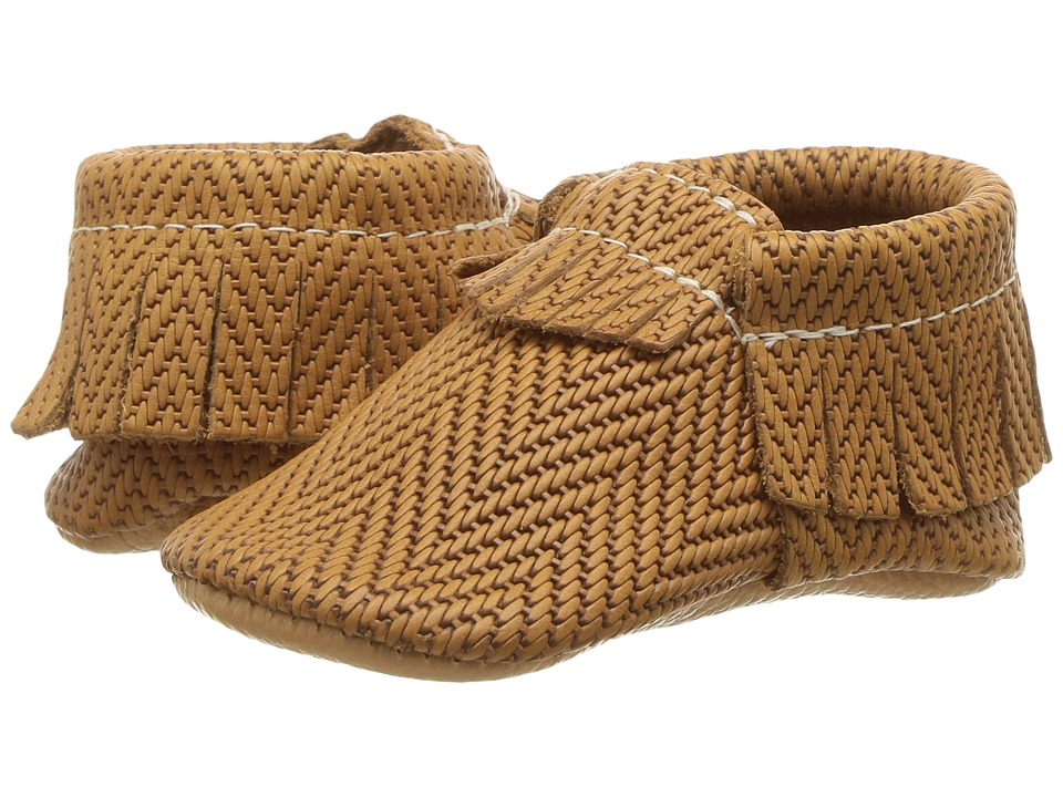 Freshly Picked Soft Sole Moccasins (Infant/Toddler) (Cognac Chevron) Kid's Shoes