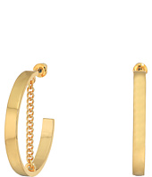 Steve Madden - Small Open Hoop with Chain Post Earrings