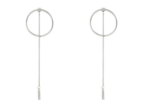 Steve Madden Short Ring with Chain Post Earrings - Rhodium