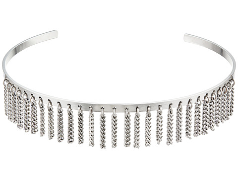 Steve Madden Open Collar with Chain Fringe Choker Necklace - Rhodium