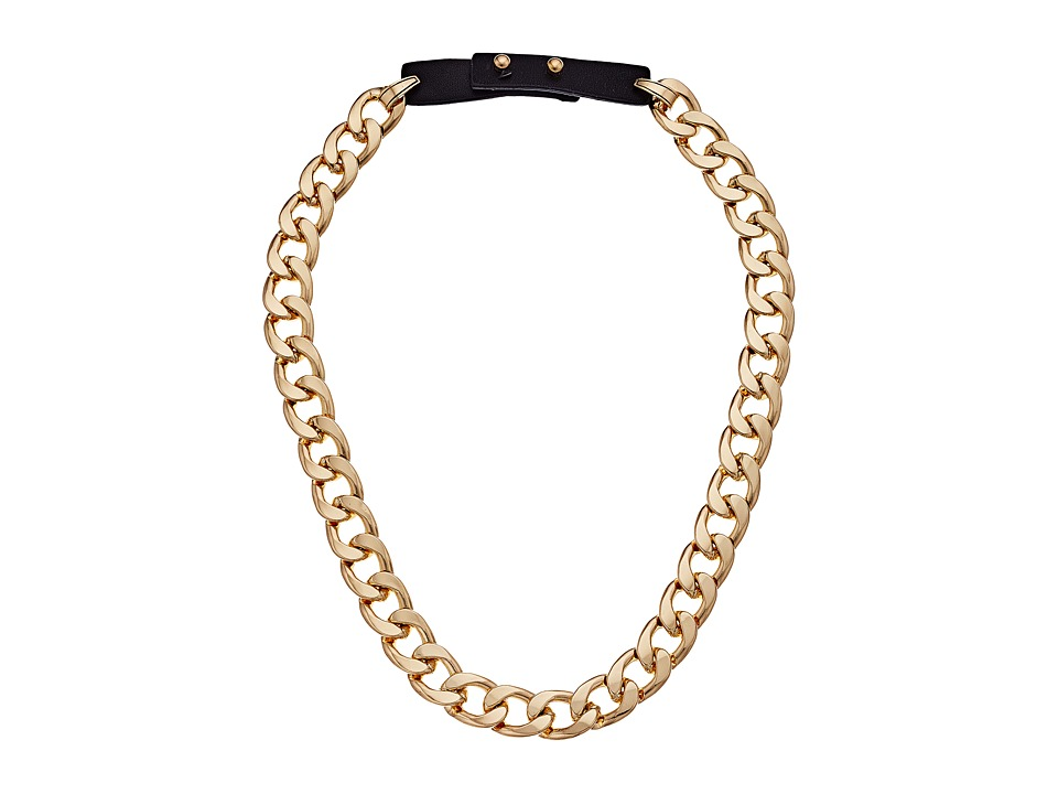 Steve Madden - Curb Chain Leather Strap Necklace (Gold/Black) Necklace
